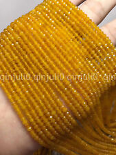 """2x4mm Faceted Natural Yellow Jade Rondelle Gemstone Loose Beads 15"""" JL420"""