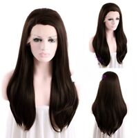 Dark Brown Long Cosplay Wig Straight Lace Front Wigs Hair