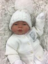 Reborn fille ou garçon blanc tenue Bobble Hat Cardigan BG P