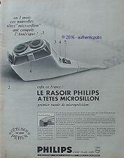 PUBLICITE PHILIPS RASOIR A TETE MICROSILLON FETE DES PERES DE 1966 FRENCH AD PUB