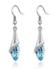 Amazing Silver & Ocean Blue Angel Eye Tear Drop Dangle Earrings E503