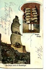 Stone Sails Monument-Game Cocks-Man w/ Cages-Guadalupe-Mexico-Vintage Postcard