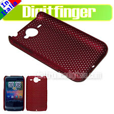 CUSTODIA BACK COVER IN PLASTICA RIGIDA ROSSA GRID CASE PER HTC WILDFIRE E HTC G8