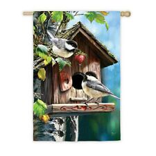 Home Sweet Home Chickadees Birdhouse strawberry Spring/ Summer Lg House Flag