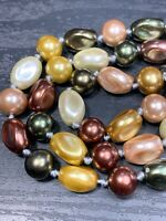 Ladies Vintage Glass  Pearl  Beaded Earthy Pastel Necklace Hand Knotted 18""