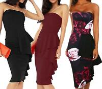 Ladies Womens Strapless Bandeau Frill Peplum Bodycon Dress Sleeveless Boobtube