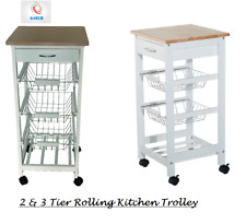White Wooden 2/3 Tier Rolling Kitchen Trolley Basket Organiser Cabinet Cart Tray