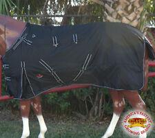 """74"""" HILASON WATERPROOF 1600D TURNOUT HORSE WINTER CROSS SURCINGLE BLACK BLANKET"""