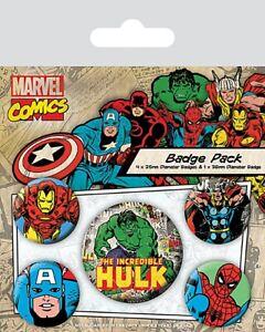 Marvel Comics Incredible Hulk + Avengers pack of 5 round pin badges    (py)