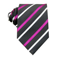 Black Purple White Striped 3.4'' 100% Silk Classic Woven Man's Tie Necktie FS37
