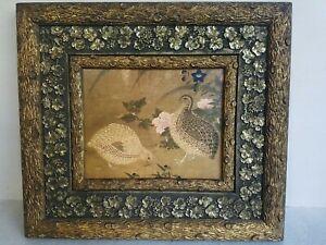 Exceptional vtg antique Victorian picture frame & quail birds print Log & floral