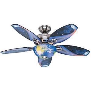 """Hunter Fan Company 52298 Space Discovery 48"""" Ceiling Fan w/Light, Brushed Nickel"""