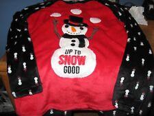 WOMENS PAJAMAS SIZE MEDIUM MICROFLEECE SNOWMAN CHRISTMAS HOLIDAY PJ 2PCS. SETNEW