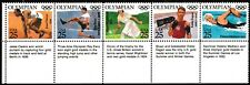 2496-2500  2500a  25c Olympians Strip of 5 with Labels - MNH