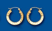 Hoop Earrings Yellow Gold Round Creole Diamond Cut 18mm Hallmarked
