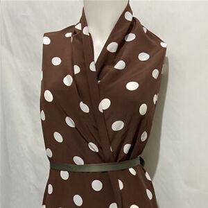 White polka dot on brown pure silk crepe de chine fabric for silk dress,SCDC1313