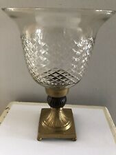 ANTIQUE ENGRAVED GLASS HURRICANE CANDLE HOLDER GOLD METAL BASE