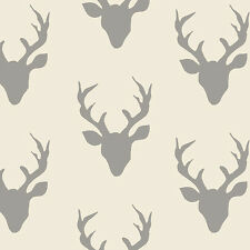 Art Gallery ~ Buck Forest Silver Fabric / quilting grey white stag deer blind