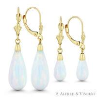 Fiery White Lab Opal 14k Yellow Gold Leverback-Post Tear-Drop Dangling Earrings