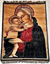 VINTAGE LAHORE RELIGIOUS ART HOLY MARY&BABY JESUS WALL TAPESTRY CARPET:95x130cm