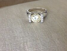 Round Light Yellow CZ Solitaire Engagement Sterling Silver 925 Ring SZ 5