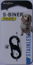 Nite Ize S-Biner Taglock For Id Tags Stainless Steel Black Finish PLSBM-01-R3