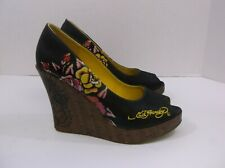 Ed Hardy Wedge Heels open toe Black Floral Tiger size 9