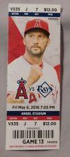Los Angeles Angels Vs Tampa Bay Rays 5/6/16 Ticket Stub