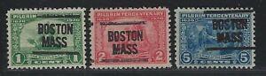 Precancels - MA - Boston - Type 204 on Scott #548-550 Pilgrim Tercentenary Set