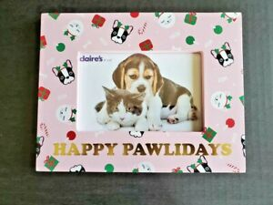 Claire's Happy Pawlidays Christmas Pink Frame French Bulldog Ornaments Kitty Cat