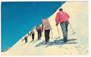 Sun Valley ID Ski Patrol Hiking Up Side Of Mountain Postcard ~ Idaho