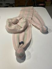 Burberry Pom Scarf & Hat Beret Set Powder Pink classic checkered 100% Authentic