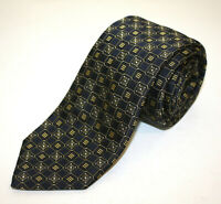 Brioni Recent Dark Blue Navy Woven Thick Silk Geomteric Pattern Neck Tie Italy