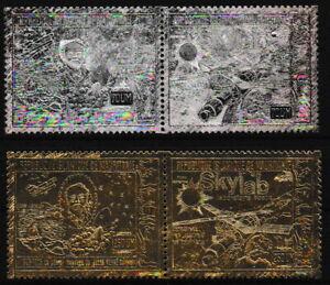 Mauretanien - Raumfahrt Prägedruck silber-gold postfrisch 1981 Mi. 479-482