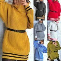 Women Lady Knitted Pullover Jumper Sweater Turtleneck Long Sleeve Knitwear Tops