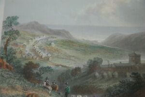 1841  ST BEES WHITEHAVEN. WORKINGTON. HAND COLOURED  ANTIQUE PRINT.