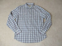 Levis Pearl Snap Button Up Shirt Adult Large White Blue Plaid Rodeo Cowboy Mens