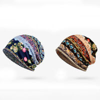 Womens Cotton Bonnet Ethnic Outdoor Hats /Scarf Use Stripe Casual Beanie Hat