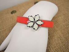 Jessica Simpson Primrose Flower Salmon & Cream Enamel Silver Tone Bracelet