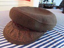 vtg dark green AEJEAN Authentic Greek Fisherman's Wool Cap hat size 58-7 1/4