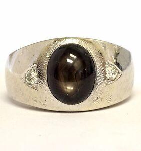14k white gold .14ct VS G diamond men's brown star sapphire ring 11.5g gents