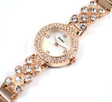 Henley Ladies Chic Rose Gold Tone Crystal Dress Watch Natural Mother of Pearl
