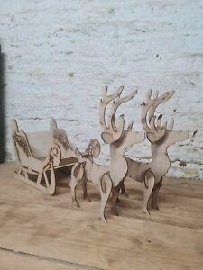 Large pair of  freestanding Reindeer with sleigh. Mdf laser cut Christmas