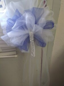 Sale 16 Wedding White And Royal Blue Tulle Pew Bows White ribbon&Bling