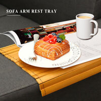 Wood Sofa Arm Rest Tray Flexible Couch Placemat Bamboo Foldable Snack Table  ~