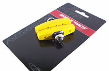 PAIR YELLOW BRAKE BIKE BLOCKS 50MM PAD VINTAGE CITY RUBBER BLOCK SHOES FIXIE BMX