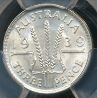 Australia, 1939(m) Threepence, 3d, George VI (Silver) - PCGS MS64 (Ch-Unc)