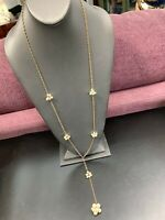 Vintage 1950's Gold Beaded Pearl Cluster Long Chain Sweater Necklace  34""