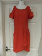 WAREHOUSE Rust Orange Pinafore/Apron/Wrap Dress with Cold Shoulder UK Size 12