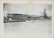 PHOTO ANCIENNE - VINTAGE SNAPSHOT - BATEAU PORTE AVIONS ARROMANCHES ALGER 1947